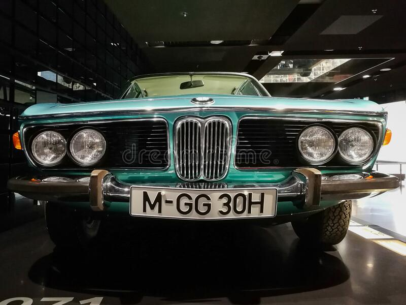 Turquoise BMW exhibit at the BMW Museum, Munich. Vintage BMW car with chromed parts. Turquoise retro BMW exhibit at the BMW Museum, Munich, Germany. Vintage royalty free stock photography