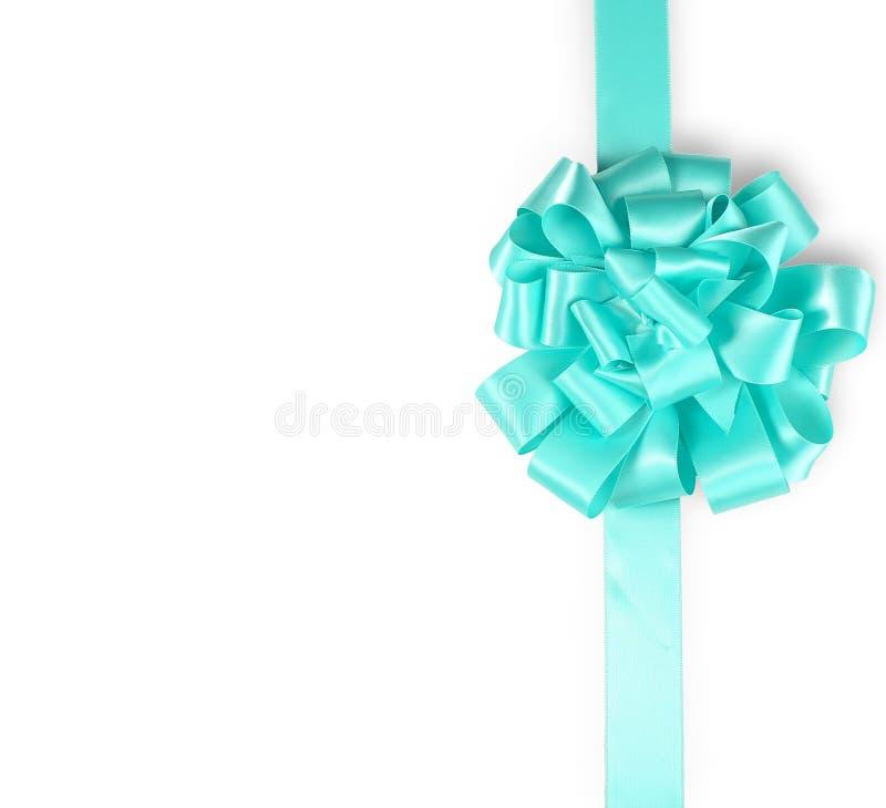 Turquoise ribbon. Christmas. Turquoise ribbon on a white background royalty free stock image