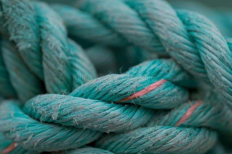 Turquoise rope. Closeup of turquoise rope at Peggy`s Cove, Nova Scotia stock photos