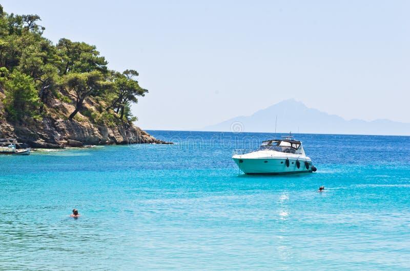 Turquoise sea color near Aliki beach, island of Thassos. Greece stock photo