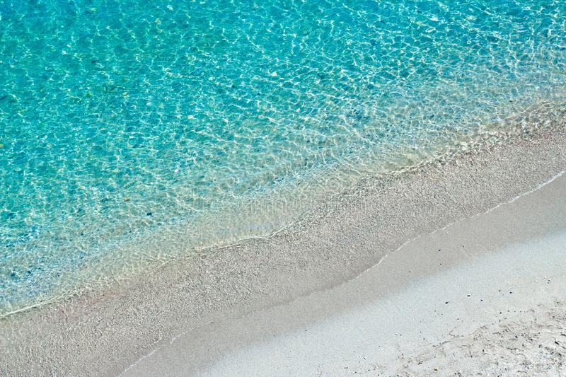 Turquoise sea waves and white sand, Mediterranean sea. Aerial view. Turquoise sea waves and white sand, Mediterranean sea. View from above stock images