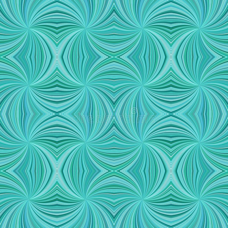 Turquoise seamless abstract hypnotic curved stripe pattern background vector illustration