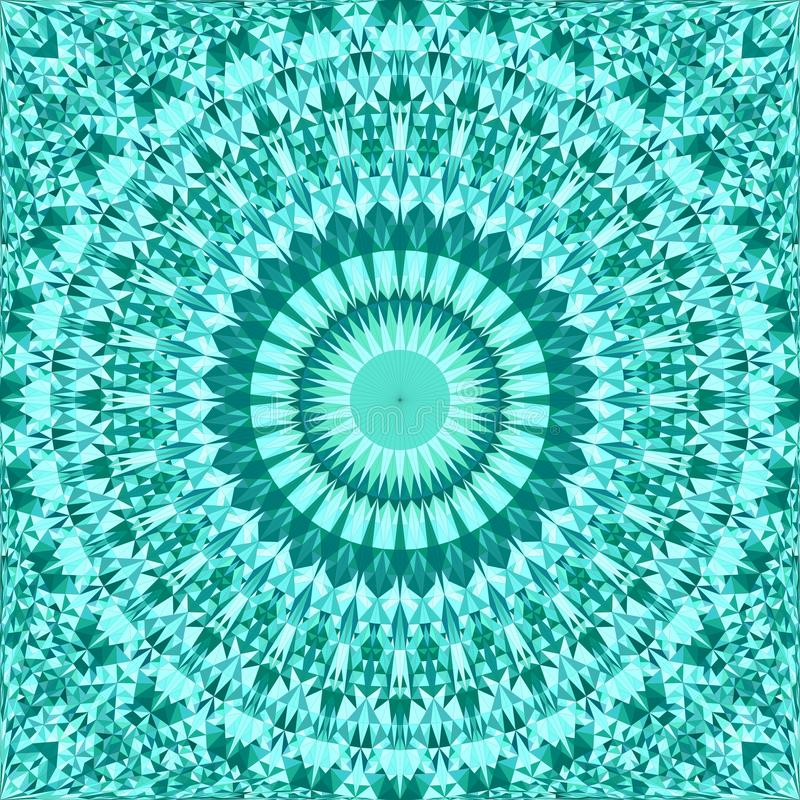 Turquoise seamless abstract triangle mosaic tile kaleidoscope mandala pattern wallpaper. Symmetrical vector background graphic design stock illustration