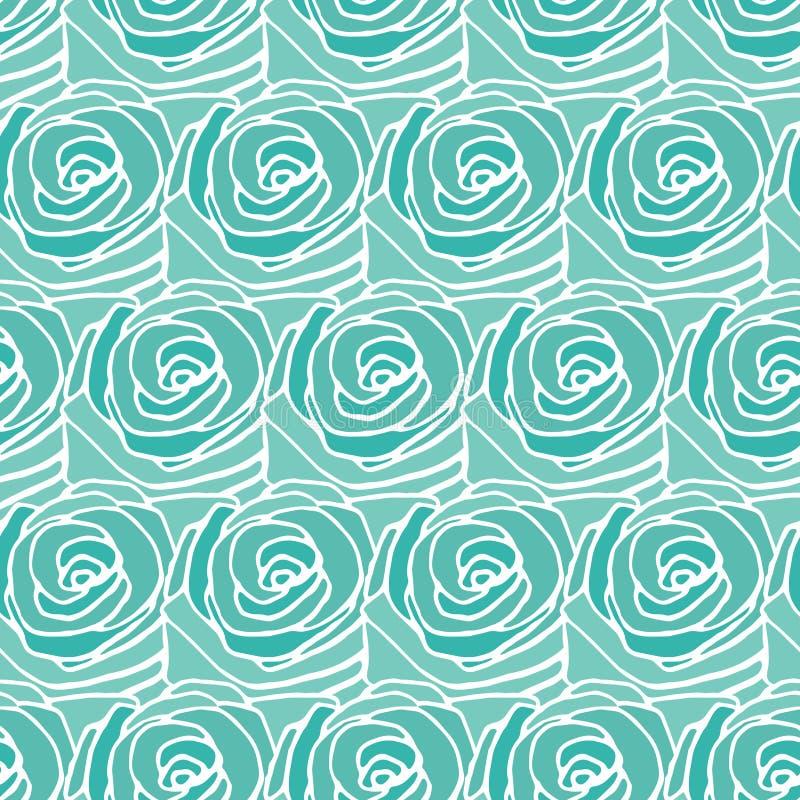 Turquoise seamless rose pattern vector illustration