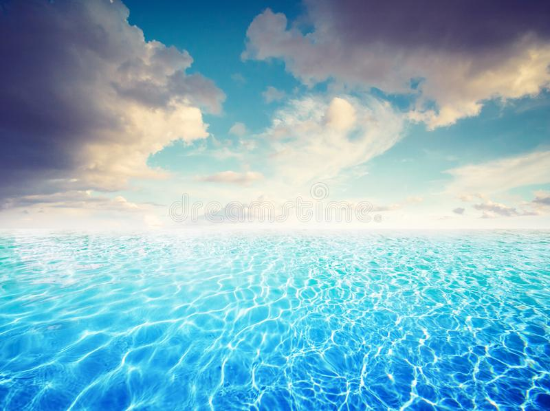 Turquoise seascape and beautiful sky clouds. Tropical paradise stock image