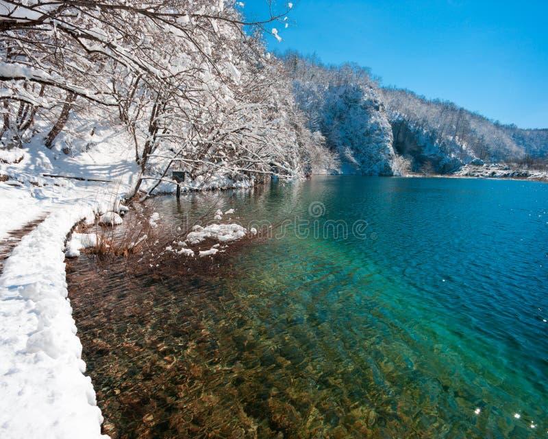 Turquoise Seequerneigungen abgedeckt mit Schnee stockfotos
