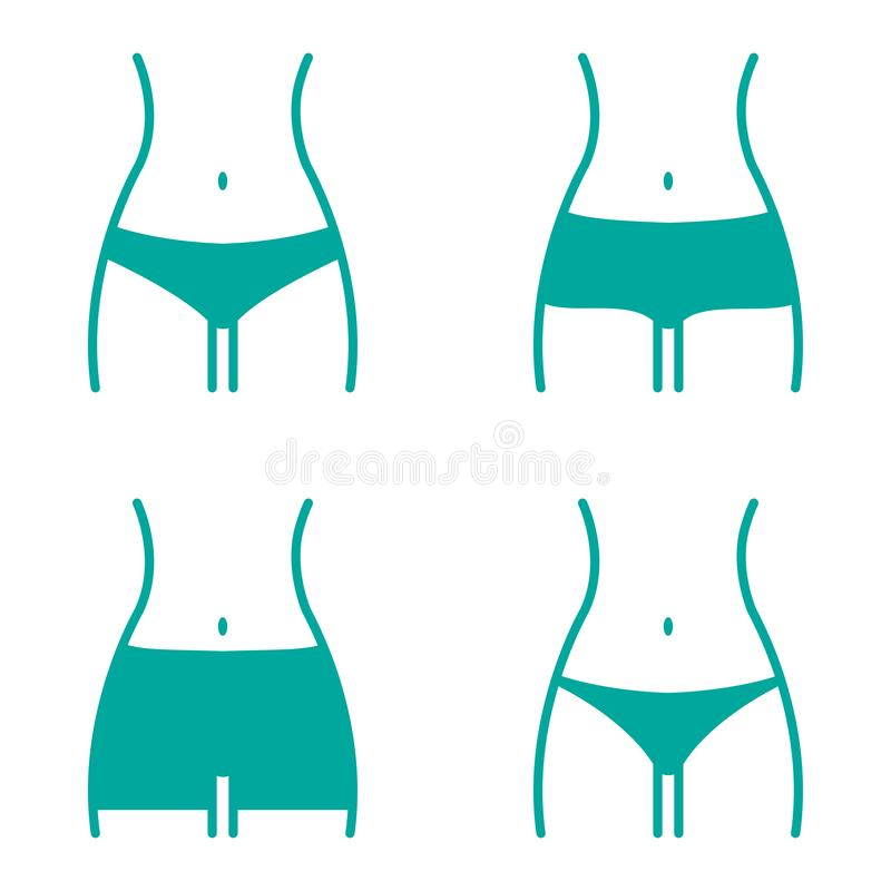 Turquoise set with various women panties, views front. Vector vector illustration