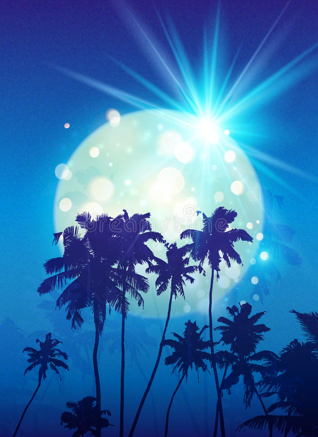 Turquoise shining moon with black palm trees silhouettes on blue background stock illustration