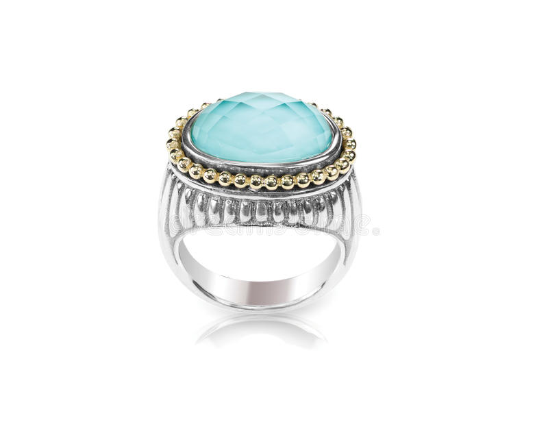 Turquoise silver gold fashion ring royalty free stock image