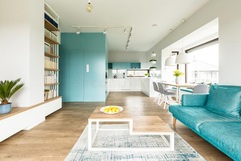 Turquoise spacious apartment interior stock images