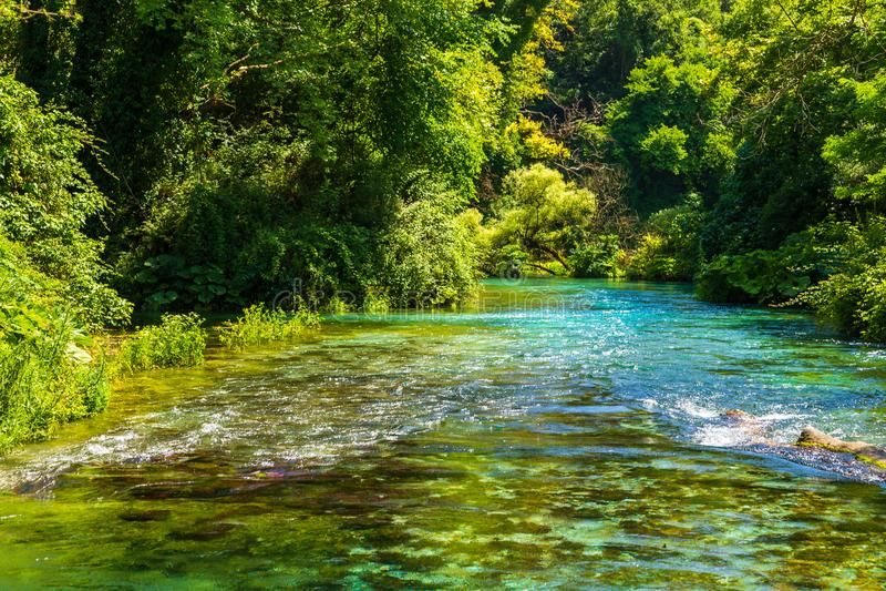 Turquoise spring Blue Eye - Syri i Kalter, near a town of Muzine, Albania. stock photography