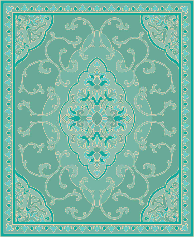 Turquoise template for carpet. stock illustration