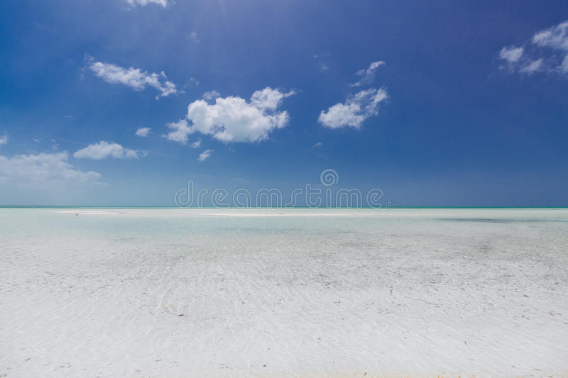 Turquoise, tranquil ocean merging with clear beautiful sky at horizon line on sunny warm day. Amazing, gorgeous natural background view of turquoise, tranquil royalty free stock images