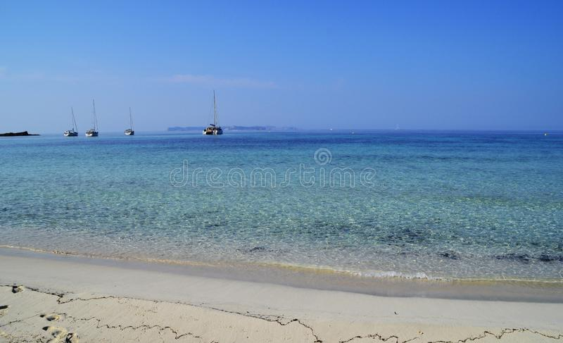 Turquoise tropical water of Majorca, Spain Mediterranean Sea stock image