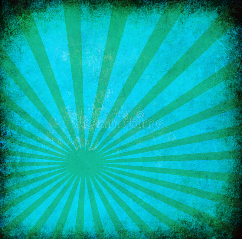 Turquoise vintage grunge background with sun rays stock images