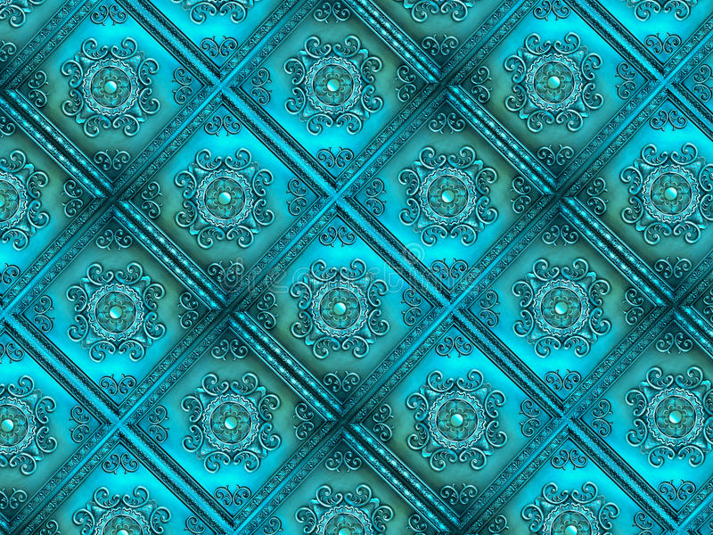 Turquoise Vintage Tiles, Texture, Background. Turquoise vintage ornate tiles, texture for background stock images
