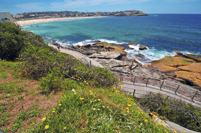 Turquoise water and Coastal Walk, Sydney Australia. Near Bondi royalty free stock photos
