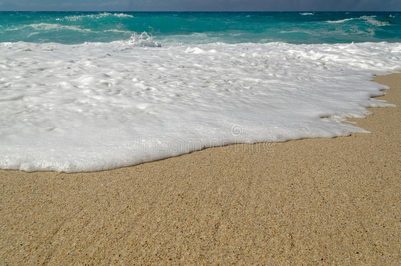 Turquoise water and horizon over water. View from Riaci beach near Tropea, Italy stock photos