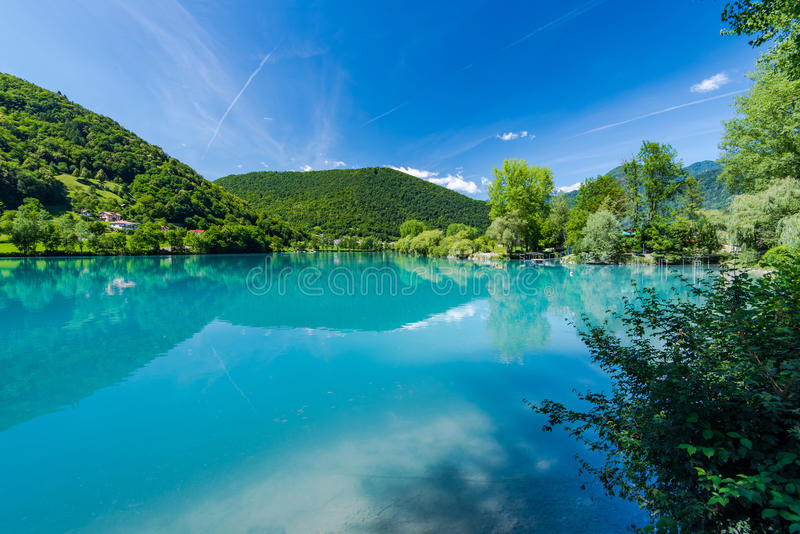 Turquoise water in Most na Soci lake in Slovenia stock images