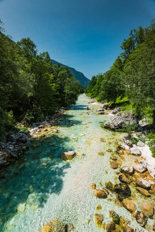 Turquoise water in Soca river, Slovenia royalty free stock photo