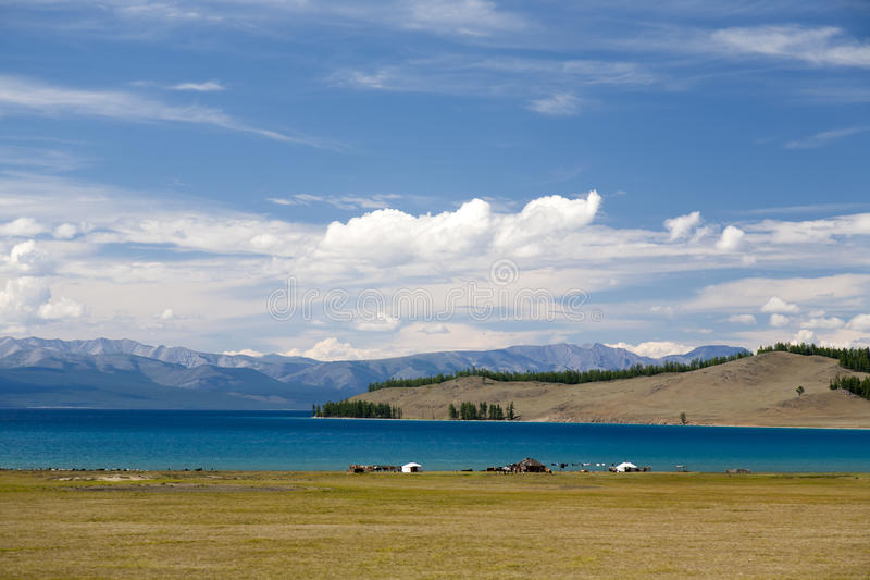 Turquoise Waters of Khovsgol Lake stock photography
