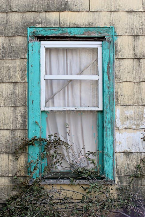 Turquoise window stock photography