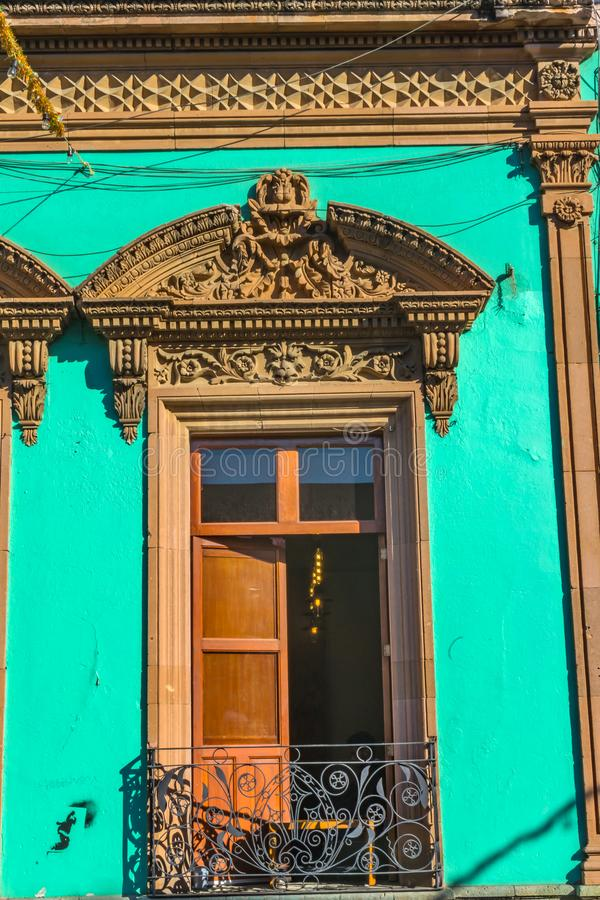 Turquoise Window Wall Mexican Building Oaxaca Juarez Mexico royalty free stock image