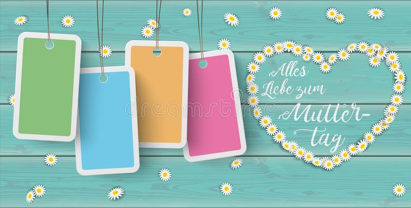 Turquoise Wood Daisy Price Stickers Heart Muttertag Header. German text Alles Liebe zum Muttertag, translate Happy Mothers Day royalty free illustration