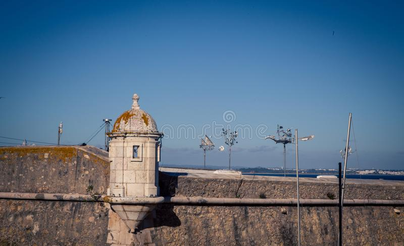 Turret fort in Lagos Portugal stock photo