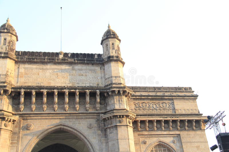 Turret and front architecture of Gateway of India. One of the side turret design details of Gateway of India, the monument situated in Mumbai. India. The stock photography
