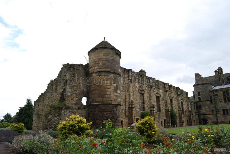 Turret and Shrubs. A turret at Falkland Palace and some of the gardens royalty free stock image