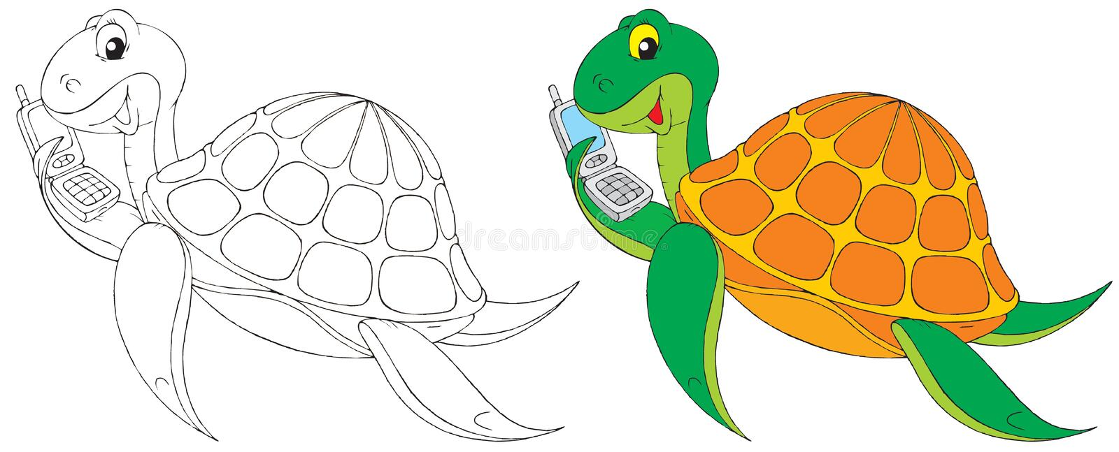 Download Turtle stock illustration. Image of phone, telephone - 12574845