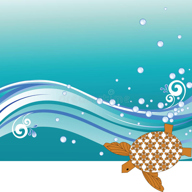 Turtle. With patterned shell - waves and bubbles - copyspace at the bottom vector illustration