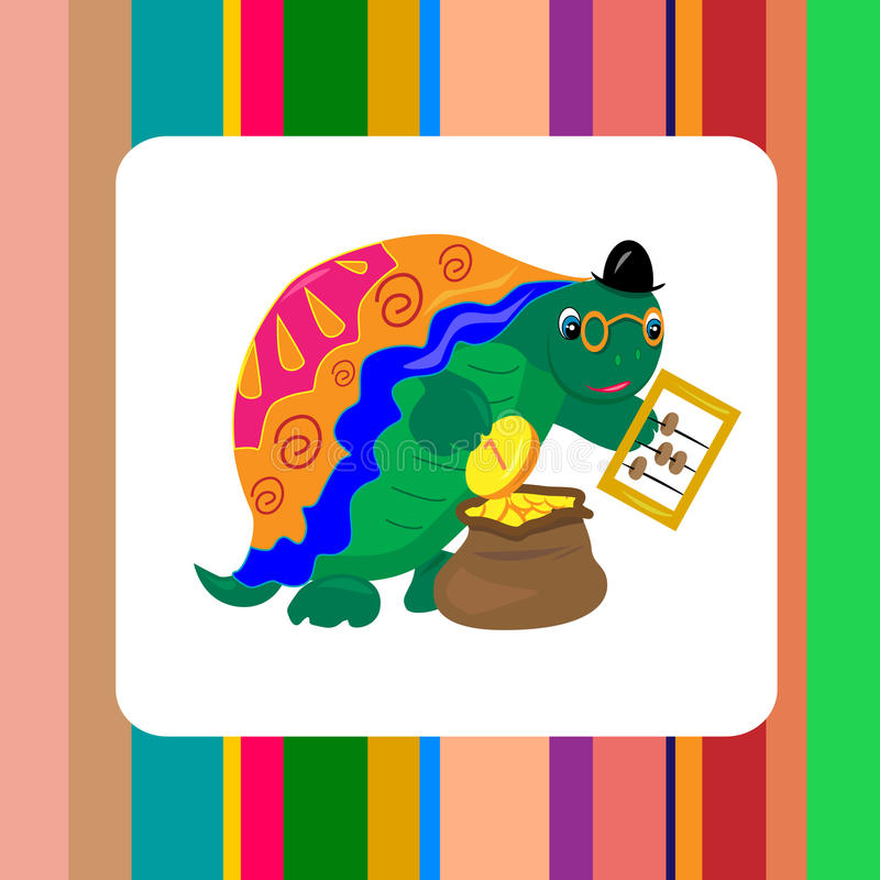 Download Turtle Banker Counting Money Card Stock Vector - Image: 21861507