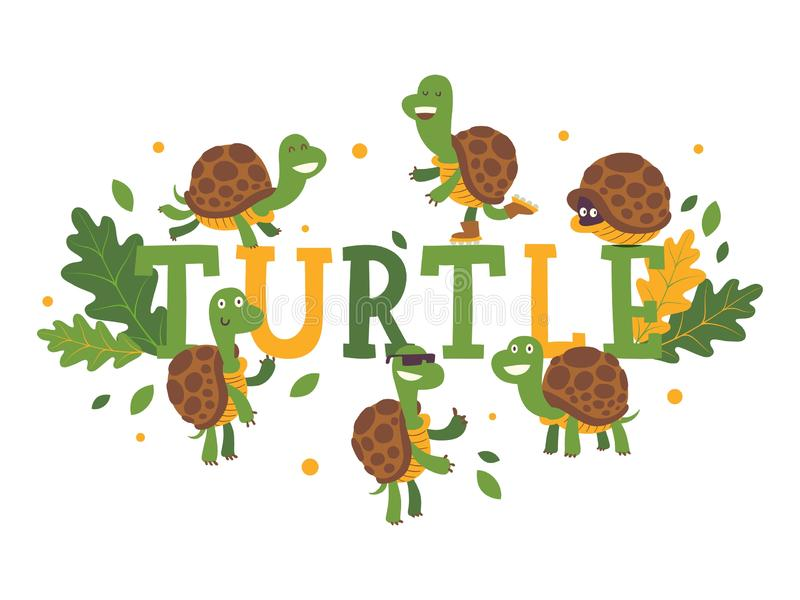 Turtle cartoon character on typography background, vector illustration. Cute tortoise in various action poses, on roller royalty free illustration