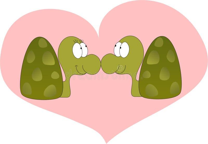 Turtle cartoon in love stock illustration