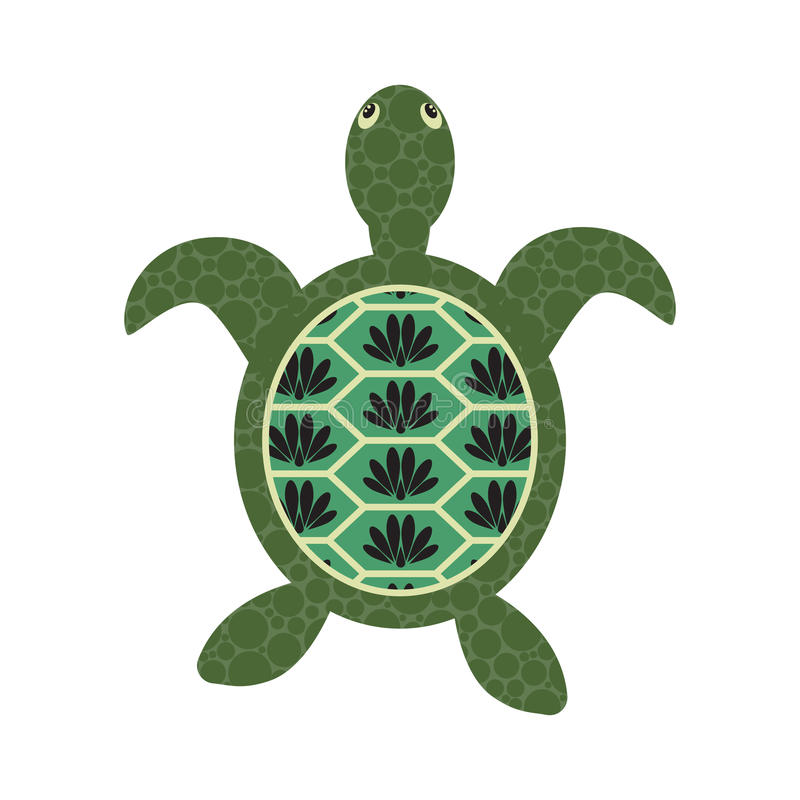 Turtle cartoon vector with decorated tortoiseshell. vector illustration