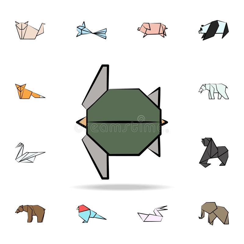 Turtle colored origami icon. Detailed set of origami animal in hand drawn style icons. Premium graphic design. One of the. Collection icons for websites, web royalty free illustration