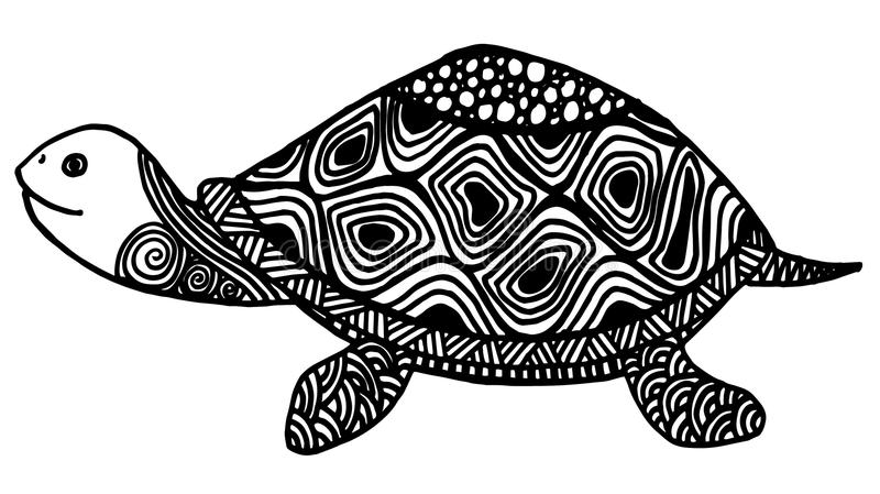 Turtle Coloring Book For Adults Illustration. Anti-stress Coloring ...