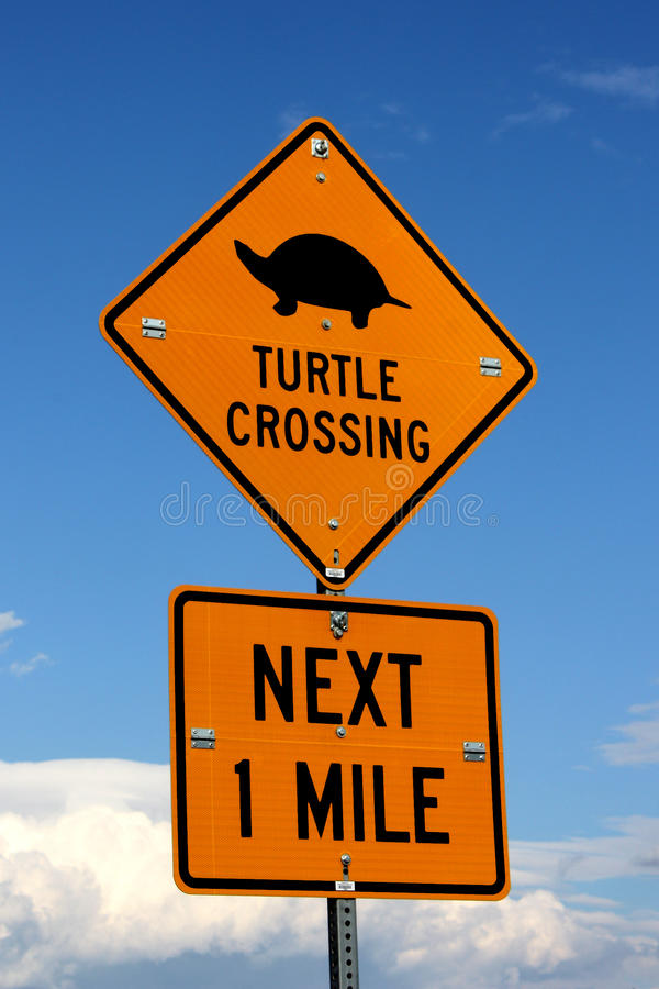 Download Turtle Crossing Sign stock image. Image of diamond, caution - 22631259