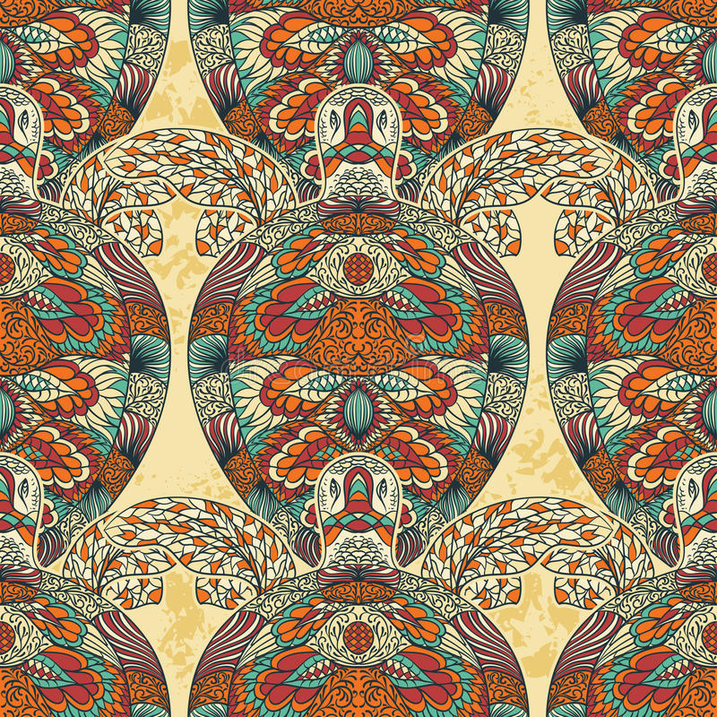 Turtle decorated with floral ornaments. Vintage colorful seamless pattern. stock illustration