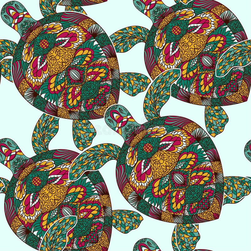 Turtle decorated with floral ornaments. Vintage colorful seamless pattern. vector illustration
