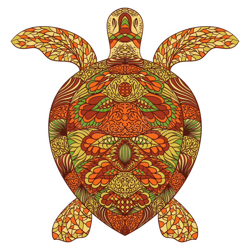 Turtle decorated with oriental ornaments. Hand drawn vector illustration vector illustration