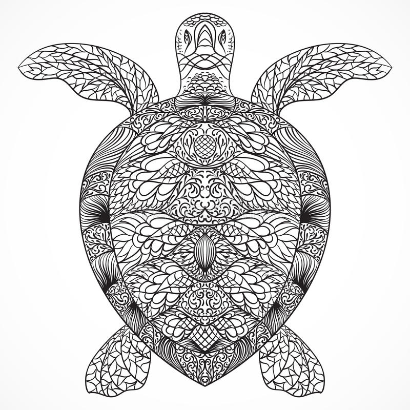 Turtle decorated with oriental ornaments. Vintage black and white hand drawn vector stock illustration