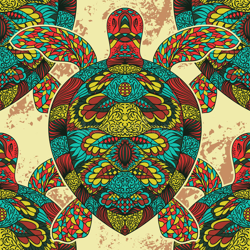Turtle decorated with oriental ornaments. Vintage colorful seamless pattern. vector illustration