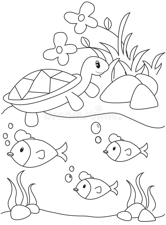 Turtle fish coloring page stock illustration. Illustration of ...