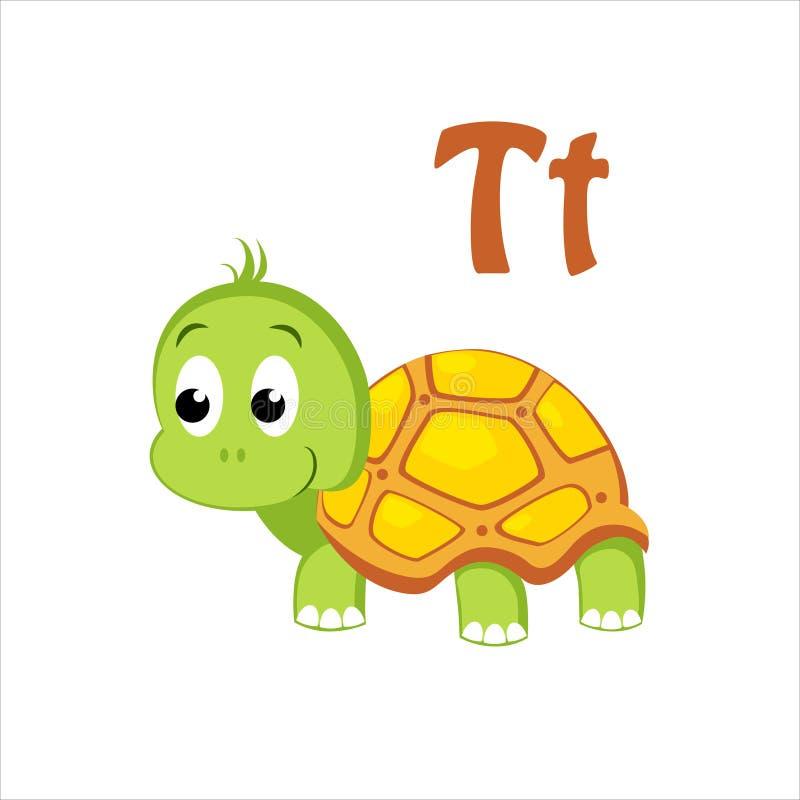 Turtle. Funny Alphabet, Animal Vector Illustration. Turtle. Funny Alphabet, Colourful Animal Vector Illustration vector illustration