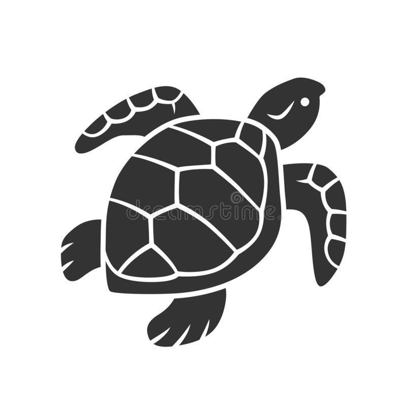 Free Turtle Glyph Icon. Slow Moving Reptile With Scaly Shell. Underwater Aquatic Animal. Swimming Ocean Creature Stock Photography - 180304072