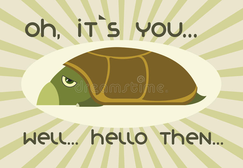 Turtle. Greetings from cute lazy turtle royalty free illustration