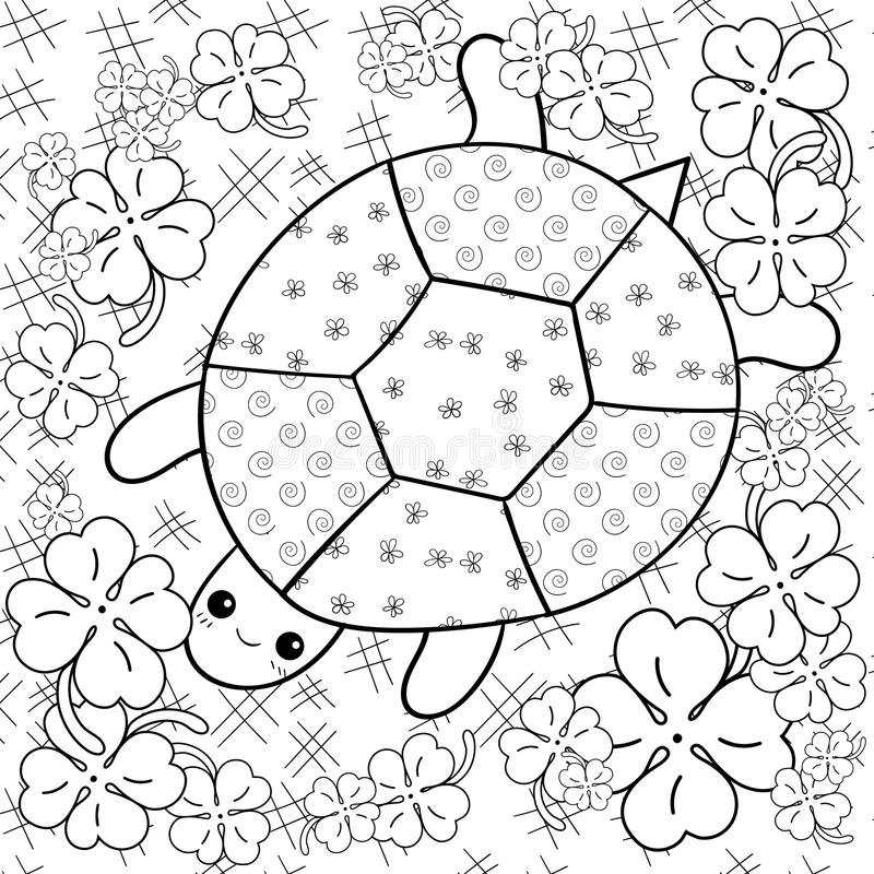 Download Turtle Heaven Adult Coloring Book Page In Clover Garden Colouring Stock